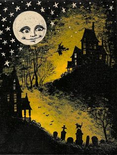 1.5x2 DOLLHOUSE MINIATURE PRINT OF PAINTING RYTA 1:12 SCALE HALLOWEEN WITCH MOON | eBay