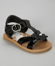 Take a look at this Black Polka Dot Bow T-Strap Sandal by Adorababy on #zulily today!
