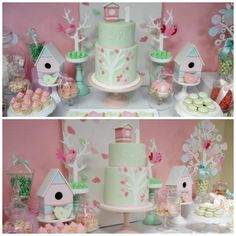 bird-theme-cake-green-and-pink
