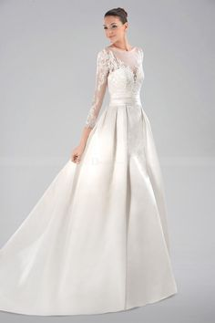 Dreamy Illusion Neckline Satin Wedding Gown with Long Lace Sleeves and Illusion Back WD310339