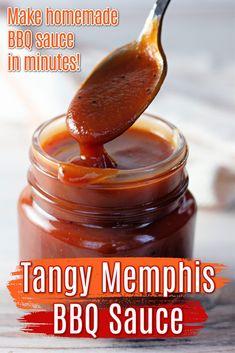 Canning Bbq Sauce Recipe, Memphis Bbq Sauce Recipe, Spicy Barbecue Sauce Recipe, Easy Bbq Sauce, Homemade Bbq Sauce Recipe, Canning Recipes, Sauce Recipes, Home Made Bbq Sauce, Dips
