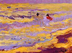 "huariqueje: "" The Beach, Valencia (Two Bathers) - Joaquin Sorolla y Bastida 1905 Impressionism """