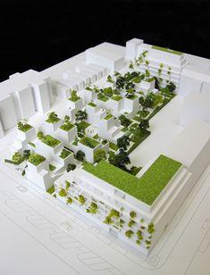 maquette d'architecture du projet Noue Caillet à Bondy architecte: http://maudcaubet.com/fr/ maquette: www.alpha-volumes.com