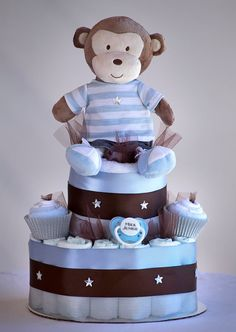 """The """"My Little Monkey"""" Diaper Cake. Baby Shower Centerpiece or Gift. on Etsy, $75.00"""