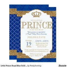 Shop Little Prince Royal Blue Gold Baby Shower Invitation created by PrettyInviting. Personalize it with photos & text or purchase as is! Royal Baby Shower Theme, Royal Baby Showers, Baby Shower Themes, Royal Theme, Shower Ideas, Baby Shower Cards, Baby Boy Shower, Royal Invitation, Shower Invitation