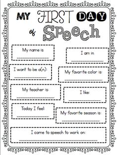 Speechie Freebies: My First Day of Speech Poster