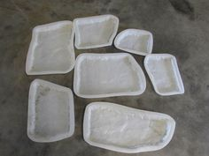 Set Of 7 Plastic Concrete Forms For Faux Stone Facades, Walkways, Etc