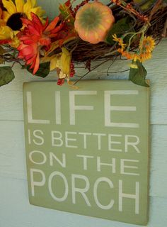 """Life Is Better On The Porch - 12"""" x 12"""" Handpainted  Wood Sign. $30.00, via Etsy."""