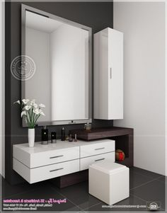 Futuristic Dressing Table Design with Square Wall Mirror also White Tall Wall Mounted Medicine Storage Design Ideas