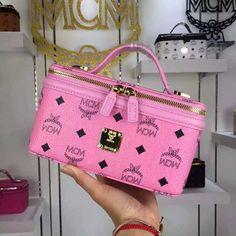 MCM Small Rockstar Vanity Case In Pink