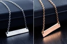 This long bar personalized necklace makes the perfect simple accessory to your favorite outfits. Pair it with jeans and a t-shirt for a cute casual look. Also makes a great personalized gift idea!