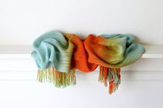 Hand woven scarf gradient color blue red and orange by katerynaG, $95.00