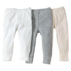 Burts Bees Baby™ Infant 3 Pack Footless Pant - Ivory/Grey/White
