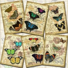 BuTTERFLY CoLLeCTiON - Lovely Vintage Layerd ARt Hang/Gift Tags/CaRDS- Printable Collage Sheet JPG Digital File-Buy ONe Get ONe FREE
