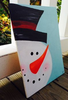 Easy canvas painting, winter painting, christmas paintings on canvas, paint Canvas Painting Projects, Christmas Paintings On Canvas, Easy Canvas Painting, Diy Canvas, Painting For Kids, Holiday Canvas, Canvas Ideas, Canvas Art, Diy Paintings On Canvas