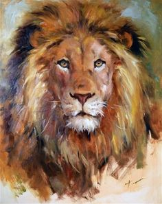 "Daily Paintworks - ""Lion"" - Original Fine Art for Sale - © Teresa Yoo - Kunst: Tiere - Animals in Art - Katzen / Cat Art Prophétique, Lion Painting, Family Painting, Knife Painting, Prophetic Art, Lion Art, Wildlife Art, Fine Art Gallery, Animal Paintings"