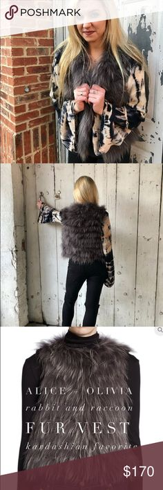 Alice + Olivia Real Rabbit and Raccoon Fur Vest Alice + Olivia Real Rabbit and Raccoon Fur Vest! 80% OFF ORIGINAL PRICE. Originally $895. Seen on celebrities such as KOURTNEY KARDASHIAN! Contents are 50% raccoon and 50% rabbit fur. The measurements are 20 inches underarm to underarm and the length is 23 inches. Alice + Olivia Jackets & Coats Vests