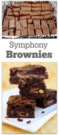 Symphony Brownies Recipe : chocolate, toffee, almonds- yum! - from RecipeGirl.com