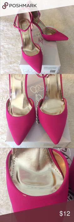 Hot pink heels with ankle strap, never worn Hot pink microfiber material heels with ankle strap, heel height is 3in. Size 8 (runs true to size). Never worn but there is a small scuff on right shoe (see pic #3). Francesca's Collections Shoes Heels