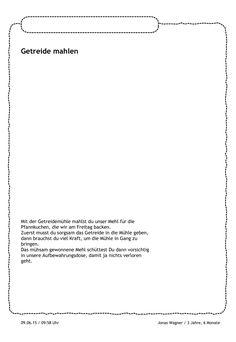 Jonas hat etwas Neues gelernt: Getreide mahlen. Das schreit direkt nach einem Portfolio. In der Mitte des Blattes möchte er selbst ein Bild von der Getreidemühle malen. https://stepfolio.de/ #Portfolioeintrag #Portfolio #Kinder #Kindergarten #KitaApp #stepfolio #allesmöglich #Bildung #Bild