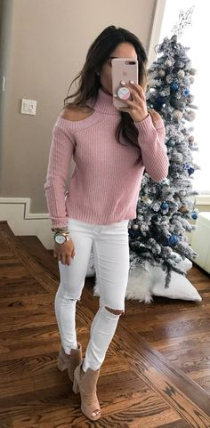 #winter #outfits pink corduroy cold-shoulder sweater and distressed white skinny pants outfit