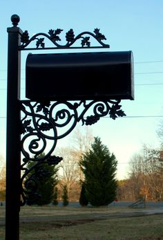 Custom Made Decorative Wrought Iron Mail Box Stands By Covington Iron Works