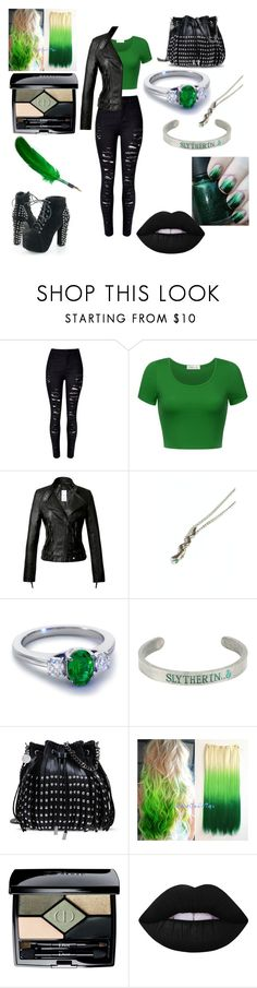 """Slytherin Pride"" by hugo-mops ❤ liked on Polyvore featuring WithChic, Blue Nile, Warner Bros., STELLA McCARTNEY, Christian Dior and Lime Crime"