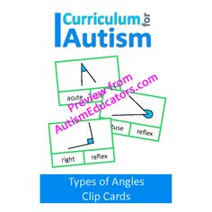 Types of Angles Geometry Clip Cards, Math