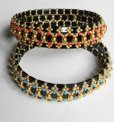 """Tutorial: Bangle- """"Black Jack"""" Tila and Seed Beads by DebgerDesigns at Jewelry Lessons.com"""