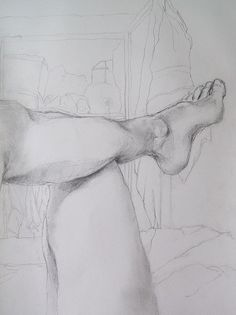 Foot and Legs Study Original Pencil Drawing on Etsy, $65.00