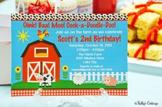 Barnyard Birthday Party Invitation.... by KellysCottageShoppe, $9.00