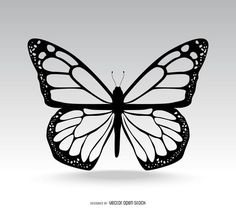 Isolated Butterfly illustration in black. This design shows lots of details in the butterfly wings as well. Designed over gray.