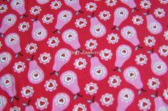 Swafing Love Pears Crimson by Jolijou Baumwollstoff Birnen Blüten Herzen ÖkoTex