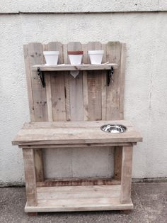 Potting bench made from reclaimed wood