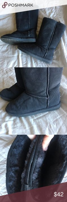 {BEARPAW} Boots Calf-high and Sherpa-lined BEARPAW snow boots are perfect for the snow & the cold winter weather. Color is a mix between dark grey and navy blue. What a better time than off-season to buy your winter shoes?! These have been lightly worn, but are like new. Make them yours today! BearPaw Shoes Winter & Rain Boots