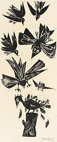'Naked Jackdaw' (1954) by Argentinian artist & printmaker Antonio Frasconi (1919-2013). Woodcut