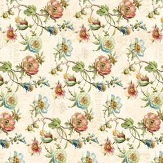 Paris Forever Cotton Fabric by Lisa Audit and Wilmington 86386-147 Large Floral on light Cream