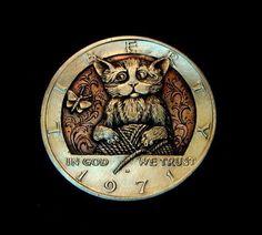"Hobo Nickel ""Too Much Fun"" Cat Kitten Clad Kennedy Half Dollar Howard Thomas | eBay"