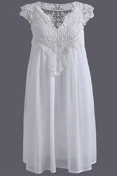 $15.48 Plus Size Lace Spliced Hollow Out Dress