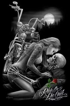 David Gonzales Art DGA Ride or Die Lovers Tattoo Punk Chicano Queen Blanket Lowrider Art, Art Harley Davidson, David Gonzalez, Darkside, Catrina Tattoo, Fantasy Anime, Dark Fantasy, Totenkopf Tattoos, Motorcycle Art