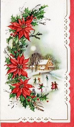 A vintage poinsettia Christmas card. Poinsettia Cards, Christmas Poinsettia, Christmas Flowers, Old Christmas, Old Fashioned Christmas, Retro Christmas, Christmas Decorations, Vintage Greeting Cards, Christmas Greeting Cards