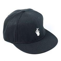 a126658481ea3 Amazon.com  Unisex Finger Hip-Hop Flat Bill Plain Snapbacks Baseball Dad  Hats Caps Black  Clothing