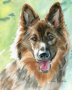 "T i t l e : ""Shiloh Shepherd Portrait""  A r t i s t : Rachel Parker  M e d i u m : Watercolor"