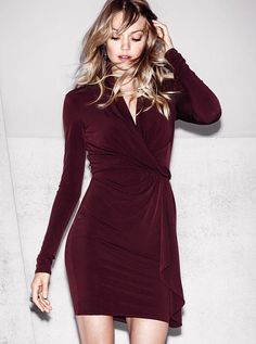 Faux-Wrap Dress. Cannot wait for this dress to come in! Plan on wearing it to my uncle's wedding next month with matching nail polish and nude heals.