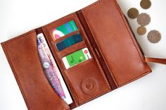 Cognac Leather Long Wallet with Coin Pouch