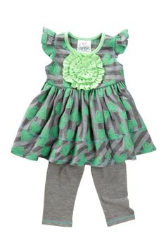 Freckles + Kitty - Striped Heart Tunic & Legging Set (Toddler, Little Girls, & Big Girls)