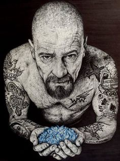Tonight is the series finale of Breaking Bad. I thought it would fun to pay tribute to Breaking Bad by showcasing some amazing Breaking Bad. Walter White, Heisenberg Art, Serie Breaking Bad, Bad Fan Art, Braking Bad, Arte Dope, Graffiti, Great Tv Shows, Illustrations