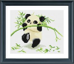 Baby Panda Cross Stitch Pattern, Instant Download, Free shipping, Cross Stitch PDF, Cross Stitch Animal, D02413 by AprilBeeShop on Etsy