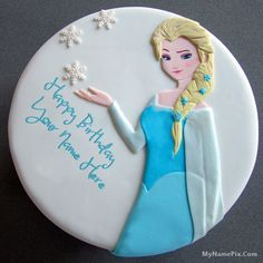 Write your name on beautiful Princess Elsa Birthday Cake For Girls with name. Print or Edit your name on lovely happy birthday cakes and generate photo with best online cake generator and editor. Awesome Princess Elsa Birthday Cake For Girls with name. Birthday Cake Write Name, Elsa Birthday Cake, Birthday Wishes With Name, Birthday Cake Writing, Birthday Wishes Cake, Happy Birthday Cake Images, Birthday Cake Pictures, Cake Name, Beautiful Birthday Cakes