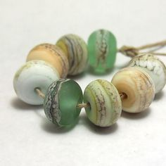 Outer Banks Organic Rounds  Handmade Lampwork by mermaidglass, $24.00
